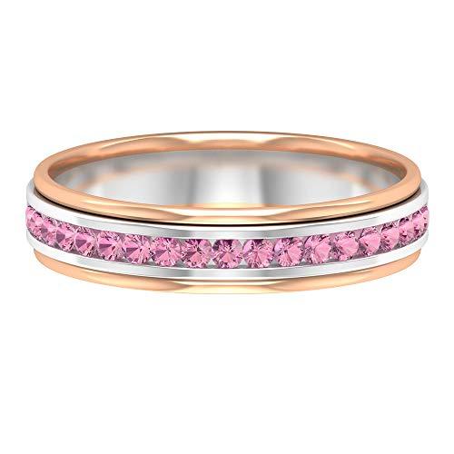 Anillo de boda único, anillo de oro de metal mezclado, anillo de turmalina de 1/4 ct, anillo de piedra natal de octubre, banda de eternidad de piedras preciosas, 18K Oro blanco, Size:EU 54