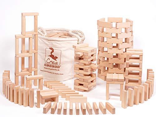 Holzbausteine Kreativ-Set 200 (200 unbehandelte Bauklötze) (im stabilen Baumwollsack) Made in Germany