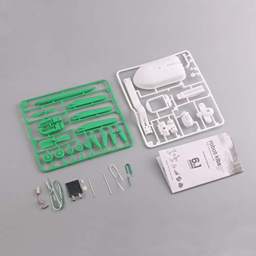 Kit de Juguete 6 en 1 con energía Solar DIY Magic Mini ensamblaje Robot Educativo Coche Barco Perro Ventilador Avión Juguetes para Cachorros (Verde y Blanco)