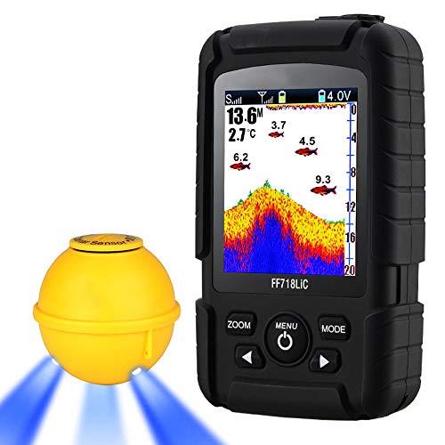 SanyaoDU Inalámbrico portátil Buscador de los Pescados 45M / 147Feet Sonar de Profundidad Sonda de Profundidad más Profunda Echosonda