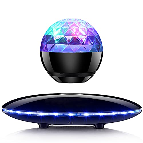 Magnetic Levitating Bluetooth Speaker, RUIXINDA Floating Bluetooth Speaker 5.0 with Party Lights, Colorful Led Flashing Show for Home Birthday Dance Party, Home Office Decor Cool Tech Gifts