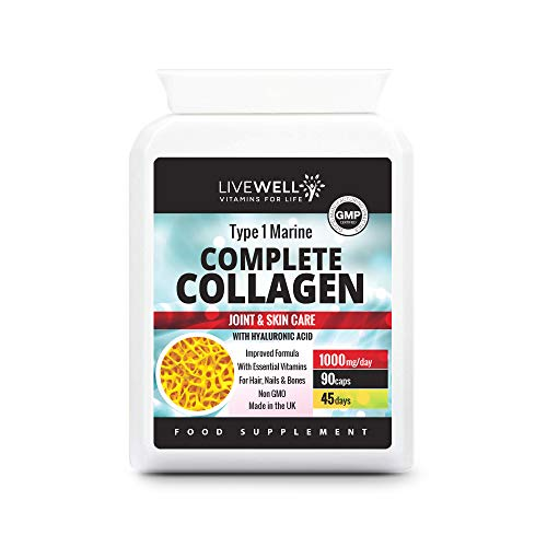 Complete Type 1 Marine Collagen Complex | Hyaluronic Acid, Vitamins B2, C & E, Zinc, Copper & Iodine | Support Healthy Hair, Skin, Nails & Joints | UK Made