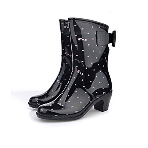 Damen Regenstiefel Kurzschaft Stiefel,Anti Slip Wasserdicht Fashion High Heel Stiefel Pink Dots Schwarz Mitte Wellington Outdoor Regen...