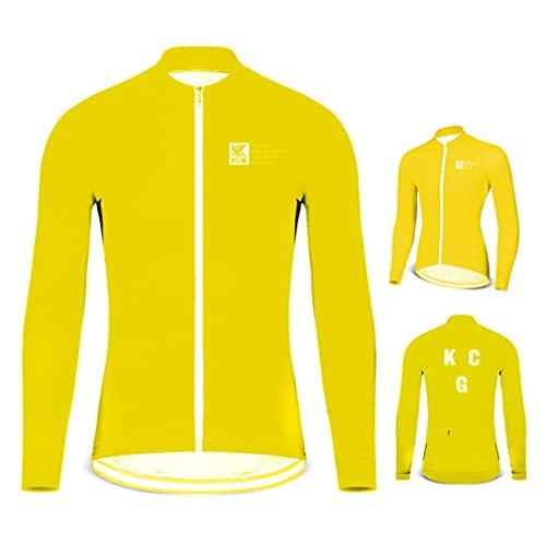 HIJIN Cycling Bike Jackets for Men, Winter Fleece Thermal Bicycle Jacket Multi-Functional Windproof Breathable Mountain Biking Softshell Jacket,Yellow,M