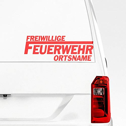 Pegatina Freiwillige Feuerwehr mit Wunschtext Wunschort Aufkleber mit Vorschau selber gestalten - Autoaufkleber Wunschname Tuning