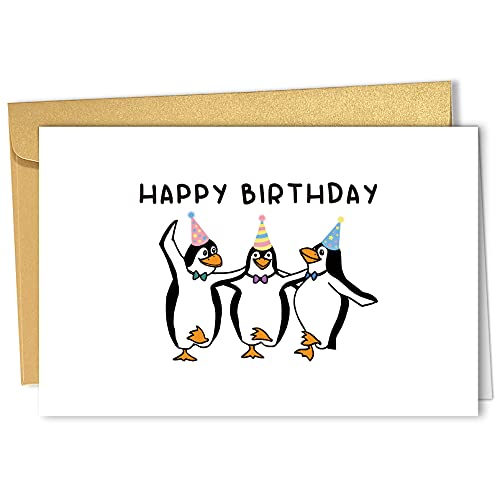 Cute Watercolor Penguin Happy Birthday Card, Funny Animal Greeting Card for Him Her, Penguin Party Card