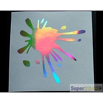 SUPERSTICKI 2X Farbkleckse ca 10Cm Oil Slick Folie Hologramm Hologrammfolie Spiegelfolie Glitter Autoaufkleber Aufkleber Autoaufkleber Aufkleber aus Hochleistungsfolie