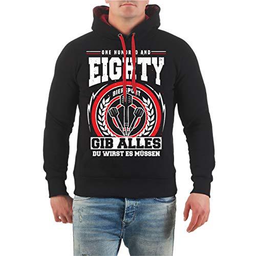 No Fight No Glory Männer und Herren Kapuzenpullover Dart Sprüche 180 Gib Alles du wirst es müssen (mit Rückendruck) Größe S - 4XL