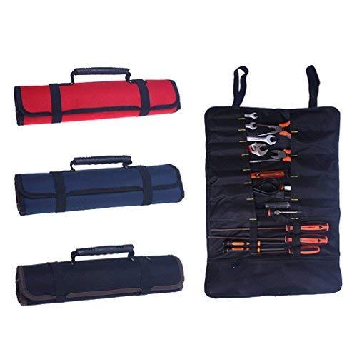 Hense Mehrzweck- Werkzeugtasche mit 30 Taschen aus Nylon. Schlüsseltasche. Rolltasche. Tragbare Tasche für Sets.Werkzeugtasche.Professionelle Ordnungstasche für Elektriker (HSZ-15) (rot)