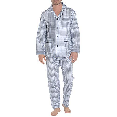 El Búho Nocturno Pijama de Caballero de Manga Larga clásico a Cuadros de Tela popelín de algodón para Hombre XL Azul Oscuro