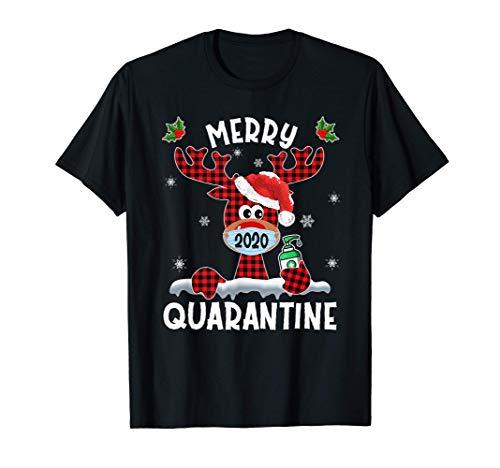 Merry Quarantine Christmas 2020 Reindeer Mask Family Pajamas T-Shirt