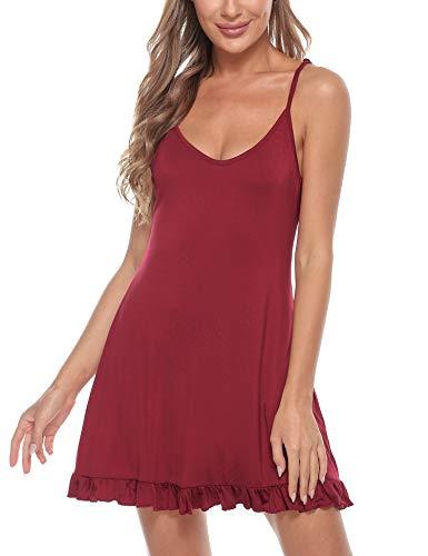 Doaraha Camisón Mujer Sexy Verano Sin Manga Correas Ajustables Camisones Camisolas Algodón Vestido de Pijama Ligero y Suave Cami Mini Dress (Vino Rojo, XXL)