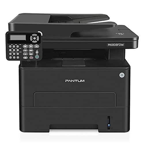 Stampante Laser Multifunzione Wifi 4 in 1 Bianco e Nero 30PPM stampante scanner fotocopiatrice Fax con ADF ADF 50 Fogli, Stampante Fronte Retro Automatica, PANTUM M6808FDW per Ufficio e Casa