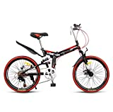 Nobuddy Bicicleta Btt 22' Mountain Bike Plegable Unisex Adulto Aluminio Urban Bici Ligera Estudiante Folding City Bike,sillin Confort Ajustables,7 Velocidad,Capacidad 140kg,Doble Freno Disco