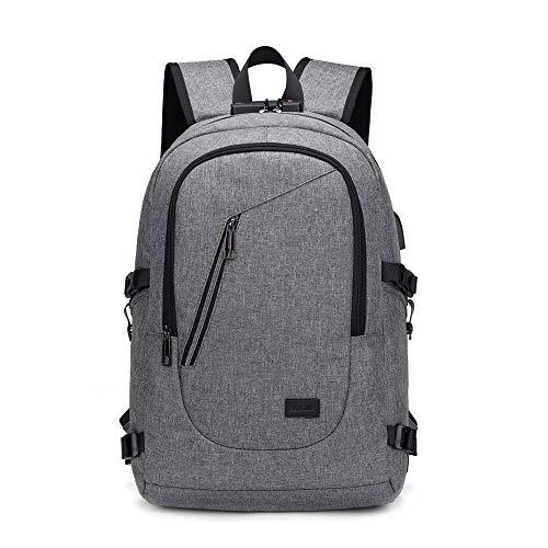 MINGZE Sac à dos pour ordinateur portable, voyage d'affaires collège sac d'école secondaire avec port de chargement USB, sac de rangement étanche pour homme et femme (Gris)