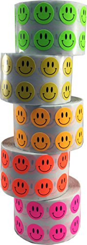 Happy Face Stickers Happy Face Labels for Teachers Bulk Pack 1/2 Inch Round Circle Dots 1,000 Stickers Per Color 5,000 Total Stickers