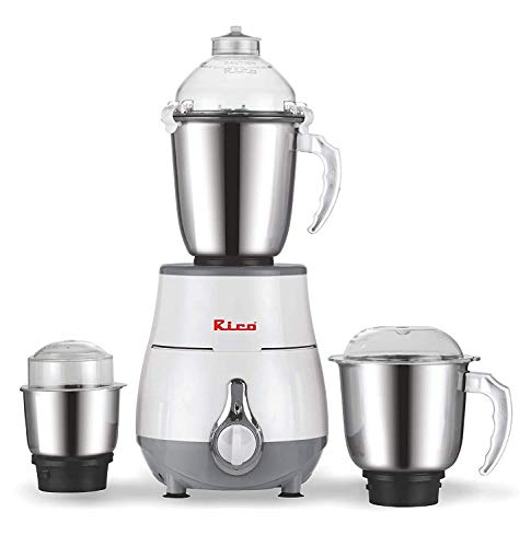 Rico Mixer Grinder 1HP Powerful Motor - 3 Unbreakable Jar Japanese Technology 2 Year Replacement Warranty I 100% Copper Motor l Made in India