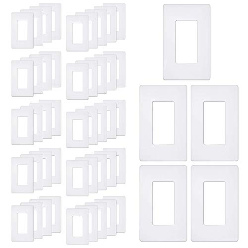 """[50 Pack] BESTTEN 1-Gang Screwless Wall Plate, USWP6 Snow White Series, Decorator Outlet Cover, H4.69"""" x W2.91"""", for Light Switch, Dimmer, GFCI, USB Receptacle"""