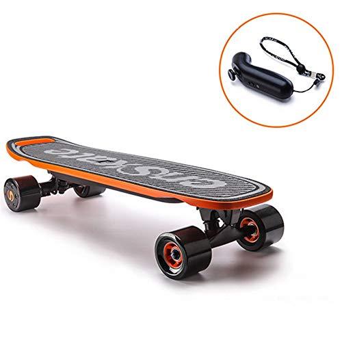 FGKING Elektrische Komplett-Skateboards, elektrisches Rollbrett, elektrisches Mini-Skateboard Standard-Skateboards für Anfänger und Pendler in der Stadt,Orange