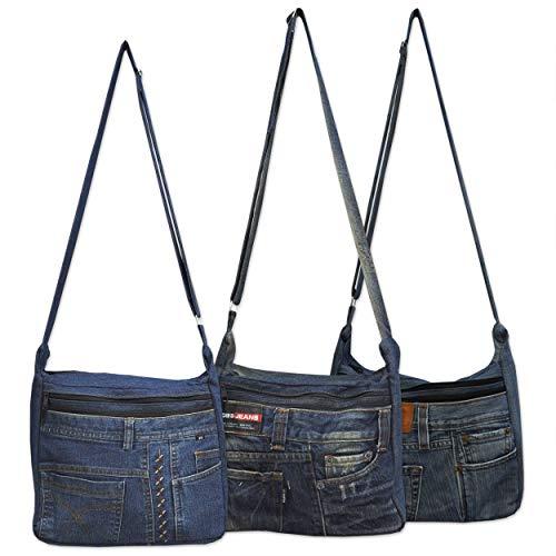 wifash Jeans Jeanstasche aus Jeanshosen genäht Umhängetasche Rucksack Schultertasche/Upcycling - aus Alt mach Neu (Umhängetasche 42086)