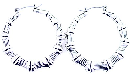 Lizzyoftheflowers–Ohrringe/Creolen im Retro-Stil, Bambus-Motiv, 5 cm