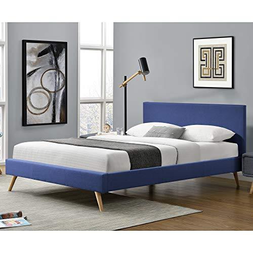 Corium Polsterbett aus Leinen Bettgestell mit Lattenrost 160x200 cm Bett inkl. Lattenrahmen Doppelbett Ehebett Blau