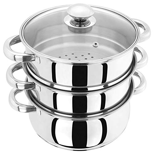 Judge Essentials HX03 Stainless Steel 3 Tier Steamer 20cm, Vented Glass Lid, Integral Casserole Pot, Oven Safe, Induction Ready, 25 Year Guarantee