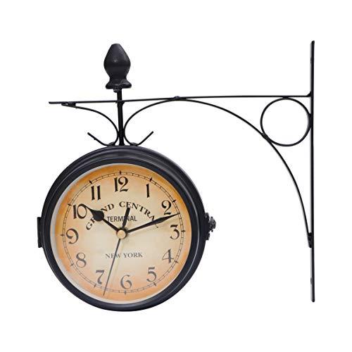 WINOMO Reloj de pared creativo clásico relojes de estilo europeo doble cara monocromo (negro)