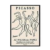 Póster nórdico de Picasso Matisse, impresiones abstractas de flores para niña, cara corporal, arte de pared, cuadro sin marco, pintura en lienzo A4 50x75cm