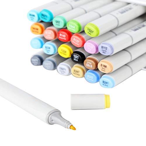 Bolígrafo De Pintura, Marcador De Alcohol De Buen Rendimiento De Sellado, Cabezal Suave para Diseño De Interiores De Paisaje para Diseño De Ropa(24 Colores)