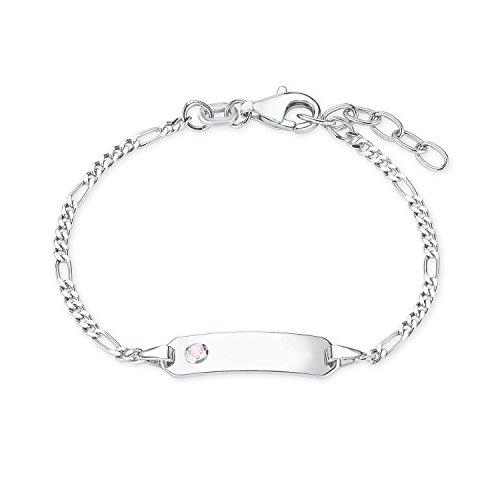 Prinzessin Lillifee Mädchen-Armband Identarmband 12+2cm Geburt Taufe gravurfähig 925 Sterling Silber Zirkonia rosa
