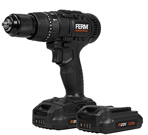 FERM industrielle kabellose Schlagbohrmaschine – FI20V – 50Nm – 4-poliger Motor – inkl. 2x 2.0Ah Akkus und Lagerkoffer