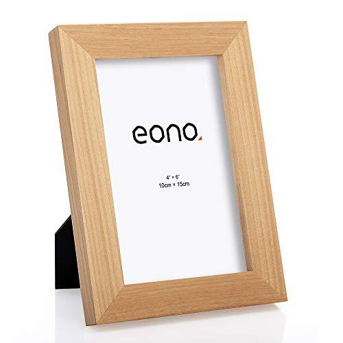 Eono by Amazon - Marco de Fotos de Madera Maciza y Cristal de Alta Definición para Pared o Sobremesa 10x15 cm Natural