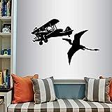 wZUN Avión y pterodáctilo Vinilo calcomanía avión Dinosaurio niño guardería Dormitorio Sala de Juegos decoración de la Pared 68X45cm