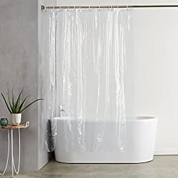 Amazon Basics Water Resistant Vinyl Shower Curtain Liner with Metal Grommets and Plastic Hooks - 72""