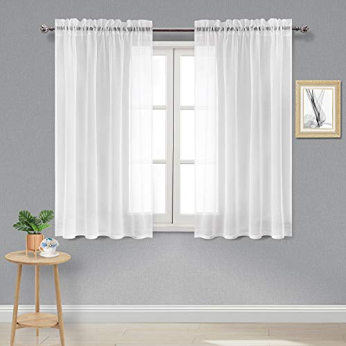 DWCN White Sheer Curtains Semi Transparent Voile Rod Pocket Curtains for Bedroom and Living Room, 52 x 45 inches Long, Set of 2 Panels