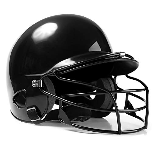 OOFAYWFD Baseball-Helm, Jugend und Kinder Erwachsene Baseball und Softball Helm Multicolor Gürtel Maske Outdoor-Sport ABS-Material,Black