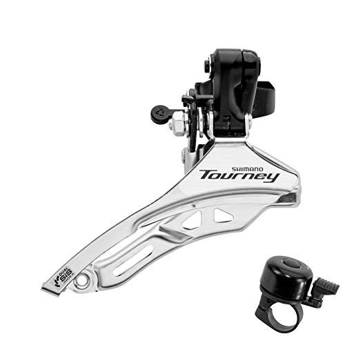 maxxi4you Juego de 1 desviador Shimano Tourney FDTY300 de 6/7 velocidades, abrazadera superior de 31,8 mm de diámetro, incluye 1 campana para bicicleta.