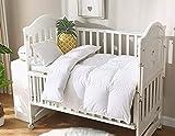 KumiQ Crib All Season Lightweight 100% Natural White Goose Down Baby Toddler Comforter Duvet,100% Down-Proof Cotton Shell,Machine Washable (White, 41x48in)