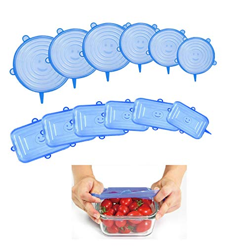 TUXUNQING 12 Stück Dehnbare Silikondeckel, wiederverwendbarer Silikondeckel, Verschiedene Größen Silikondeckel Deckel für Schalen, Töpfe, Gläser, Dosen Obst(6 PCS rechteckig und 6 PCS rund)