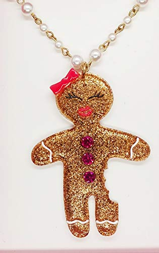 Betsey Johnson Cute Ginger Bread Girl Necklace with Gift Box