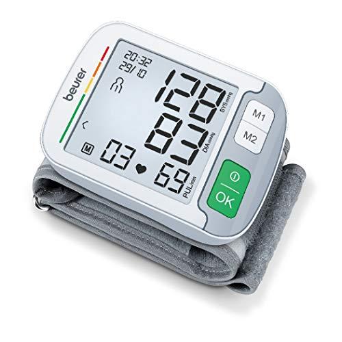 Beurer BC 51 Handgelenk-Blutdruckmessgerät, Positionierungsanzeige, XL-Display, farbiger Risiko-Indikator, Arrhythmie-Erkennung, 2 x 120 Speicherplätze