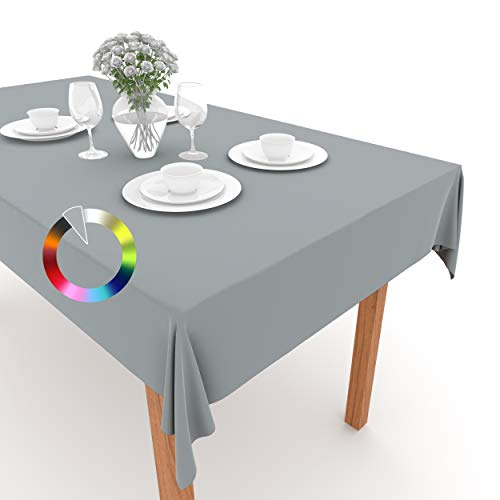 Rollmayer Tischdecke Tischtuch Tischläufer Tischwäsche Gastronomie Kollektion Vivid Uni einfarbig pflegeleicht waschbar (Silbergrau 31, 100x100cm)