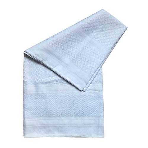 Adult Men Arab Head Scarf Keffiyeh Middle East Desert Shemagh Wrap Muslim Headwear Arabian Costume Accessories (White)