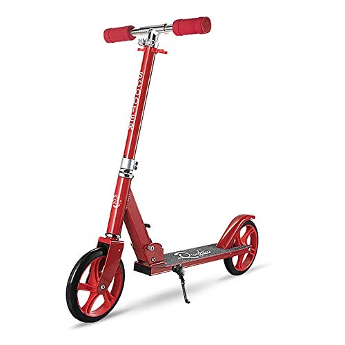 CAIMEI Leicht Zusammenklappbarer Roller Für Kinder, Große Kinder, Jungen, Mädchen, City-Roller Mit 2 Großen Rädern, Höhenverstellbar, Unterstützung 100 Kg, Nicht Elektrisch, Pink,Rot