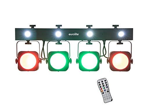 EUROLITE LED KLS-190 Kompakt-Lichtset/Bar mit 4 RGB-Spots, 4 weißen Strobe-LEDs und einer QuickDMX-USB-Buchse