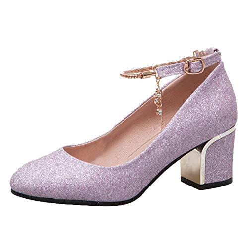 scarpe donna decolte tacco medio primavera LUXMAX Donna Decolte Glitter con Tacco Medio Blocco Scarpe Paillettes Eleganti Decollete Cinturino Fibbia (Viola) - 39 EU