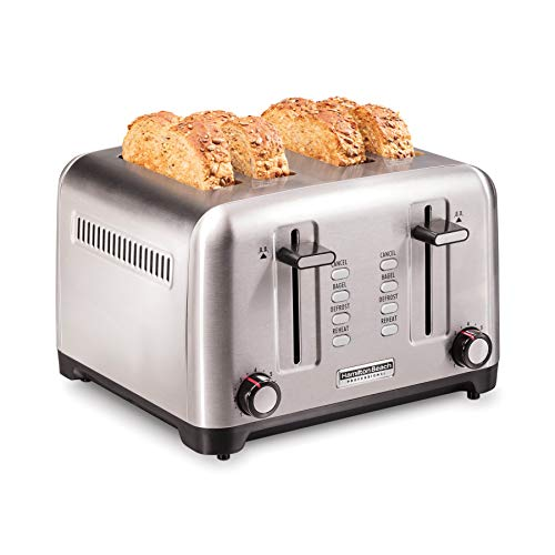 Hamilton Beach Professional Professional 4 Slice Toaster, with Bagel, Defrost & Reheat Settings, Stainless Steel (24990)