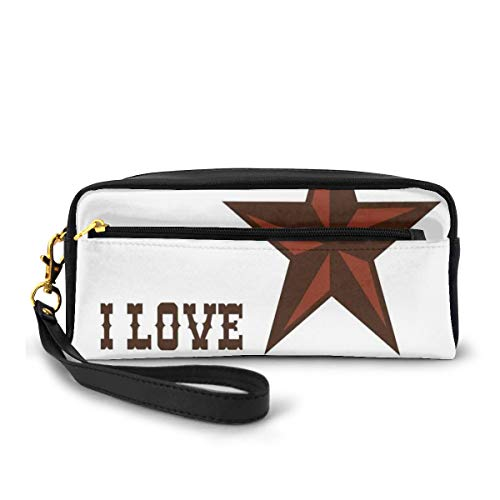 Pencil Case Pen Bag Pouch Stationary,Western Culture Motifs with A Quote About Southwest of United States,Small Makeup Bag Coin Purse