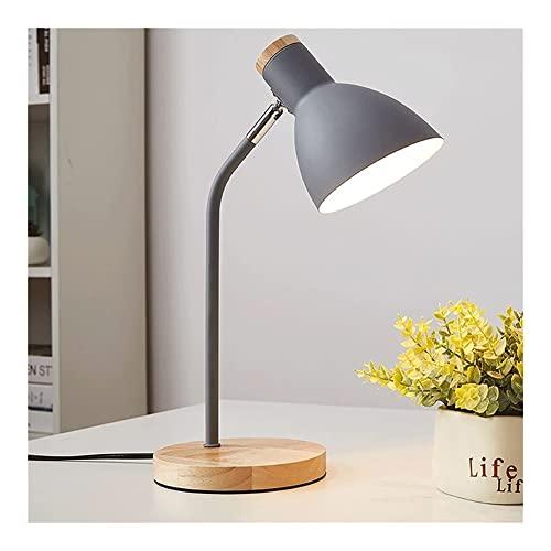 HOUFT Protección los Ojos Madera Base de lámpara Escritorio, Lectura Ajustable del Trabajo Estudio clásico Noche Mesilla con Tres velocidades atenuación DIRIGIÓ Bulbo (Color : Gray)